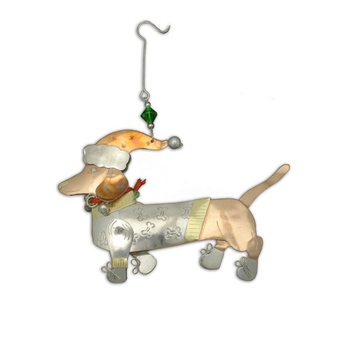 Pilgrim Imports - Handcrafted, Fair Trade,  Metal Dasher Dachshund Dog Ornament