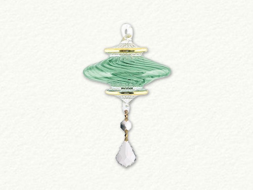 Egyptian Glass Green and Gold Ornament with Asfor Crystal
