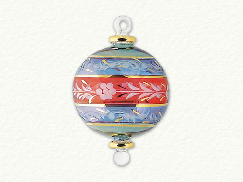 Egyptian Glass 3 Color Floral Ornament