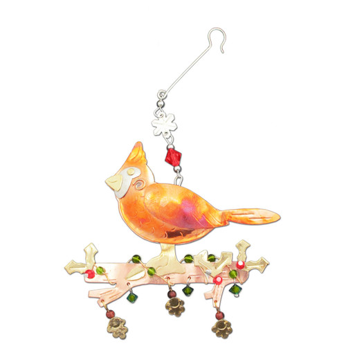 Pilgrim Imports - Handcrafted, Fair Trade,  Metal Christmas Cardinal Ornament