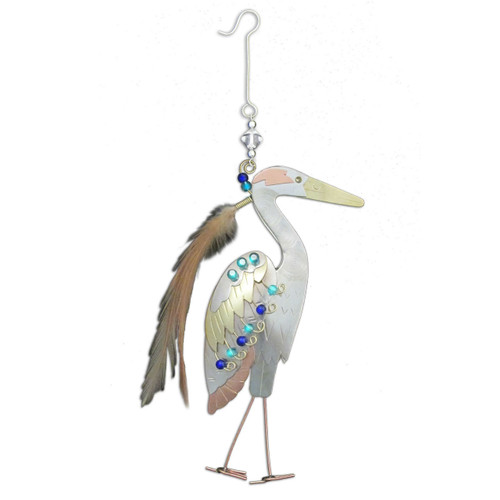 Pilgrim Imports - Handcrafted, Fair Trade,  Metal Blue Heron Ornament
