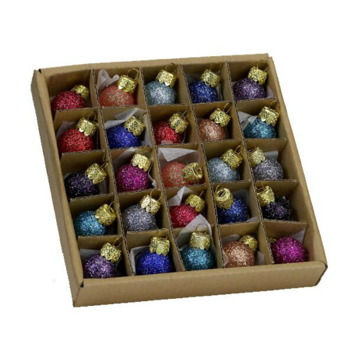Glitter Glass Ball Ornaments Set of 25