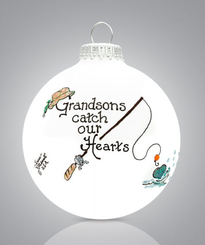 Heart Gifts by Teresa - USA Made - Grandson Fishing Ornament