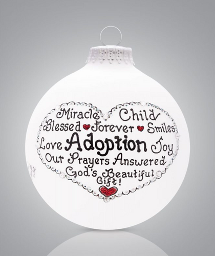 Adoption Ornament, Heart Gifts by Teresa - Hand Painted and USA Made
