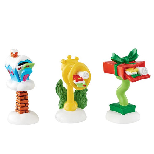 Department 56- Grinch Village- Who-Ville Wacky Mailboxes Set of 3 Accessory