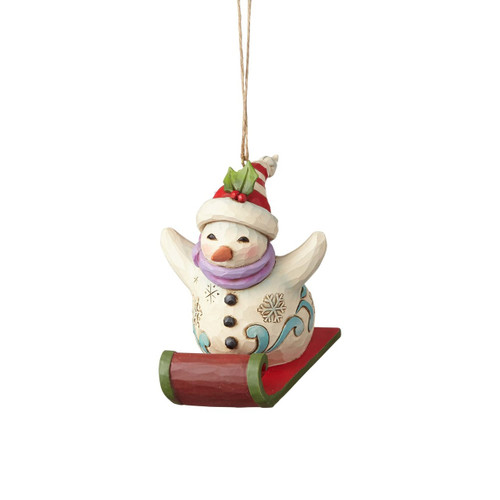 Jim Shore Heartwood Creek- Snowman Sledding Ornament