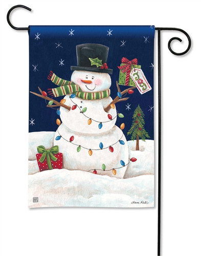 Snowman Lights Garden Flag