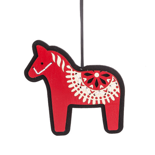 Red and White Stitched Horse Ornament
