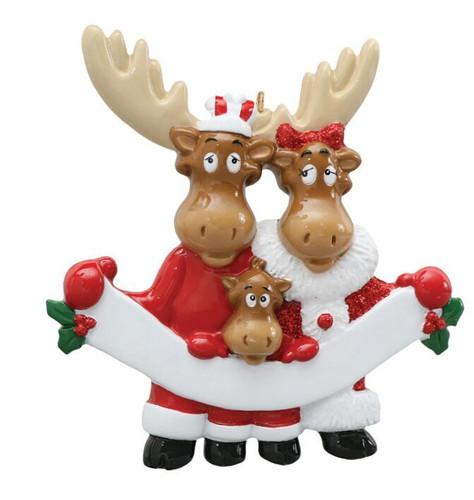 Free Personalization - Moose Family of 3 with Banner Ornament