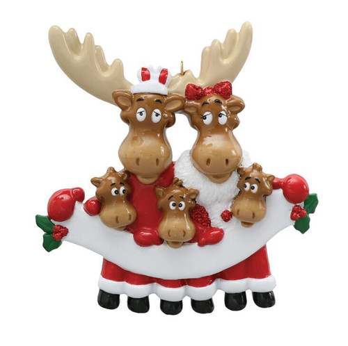 Free Personalization - Moose Family of 5 with Banner Ornament