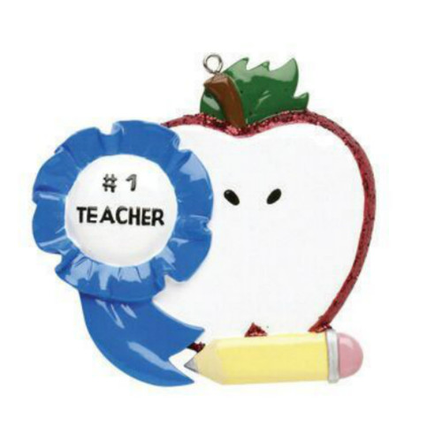Free Personalization - #1 Teacher Ornament