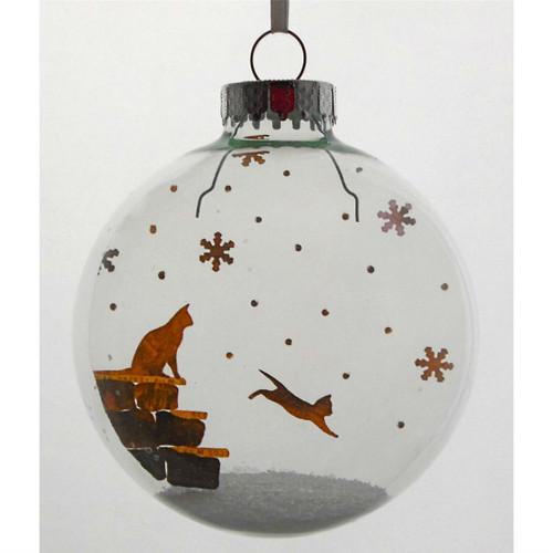 Kitten in Snow on Celluloid Print Ornament - Handmade by Artist Glāk Love