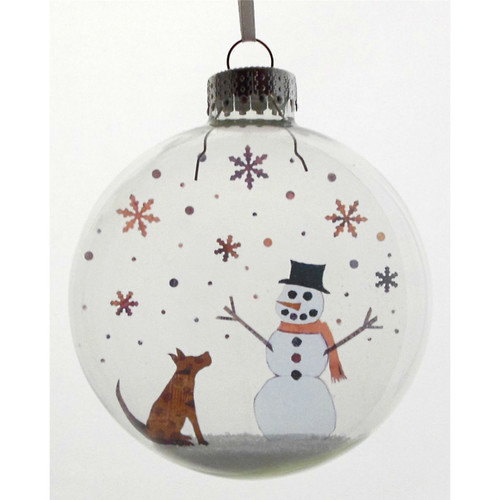 Pup and Snowman on Celluloid Print Ornament - Handmade by Artist Glāk Love