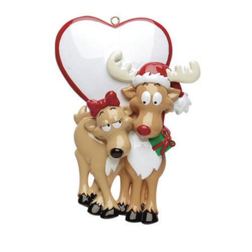 Free Personalization - Deer Couple with Heart Ornament