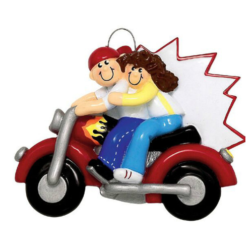 Free Personalization - Motorcycle Couple Ornament