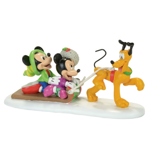 *New 2017* Department 56- Mickey Village Accessory-Pluto's Toboggan Ride