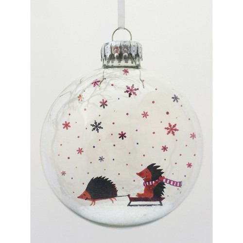Winter Wonderland Hedgehogs on Celluloid Print Ornament - Handmade by Artist Glāk Love