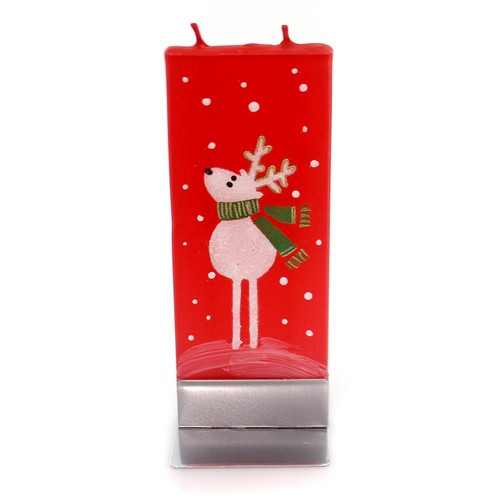 Flatyz Handmade Lithuanian Twin Wick Unscented Candle - Reindeer and Scarf