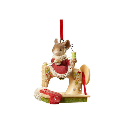 Heart of Christmas- Mouse on Sewing Machine Ornament