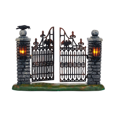 Department 56- Halloween Village- Spooky Wrought Iron Gate