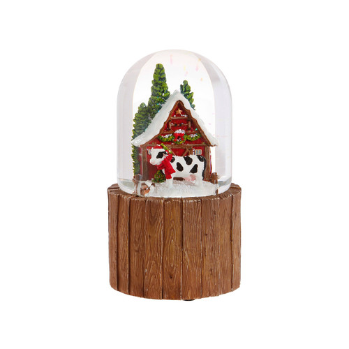 Cow and Barn Snow Globe