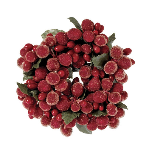"""3"""" Red Beaded Berry Candle Ring"""