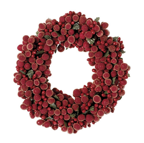 "6"" Red Beaded Berry Candle Ring"