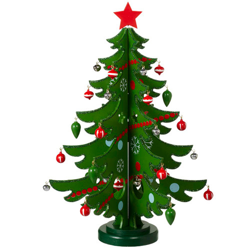 "18"" Green Wooden Tree with Ornaments, Set of 37"