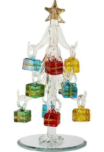 """6"""" Glass Clear Tree with Gift Ornaments"""
