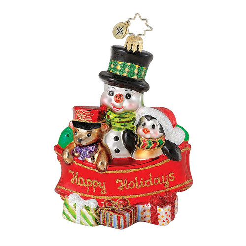 "Christopher Radko 4.25"" Banner Buddies Snowman Ornament"