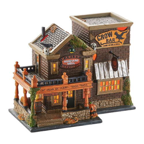 Department 56 -  Halloween Village- Harley Crow Bar Lit House