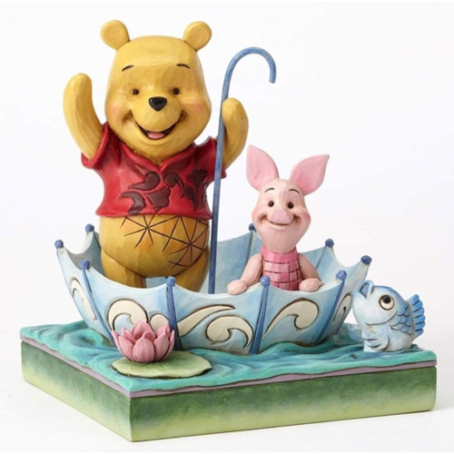 "Jim Shore Disney Traditions- ""50 Years of Friendship"" Pooh and Piglet Sharing an Umbrella Figurine 4054279"