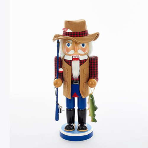 "Kurt Adler - 15"" Wooden Fisherman Nutcracker"