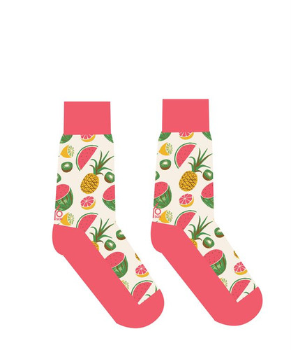 Yo Sox - Woman's Crew Sock with Tropical Fruit Design