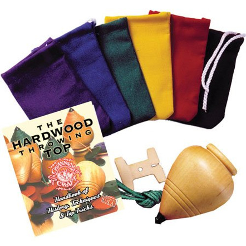 Hardwood spin top Comes in hard plastic gift box Includes carrying pouch Made in the USA by Channel Craft