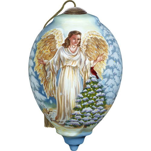 Precious Moments- Hand Painted Blown Glass Standard Princess Shaped Winter Forest Angel Ornament, 5.5-inches