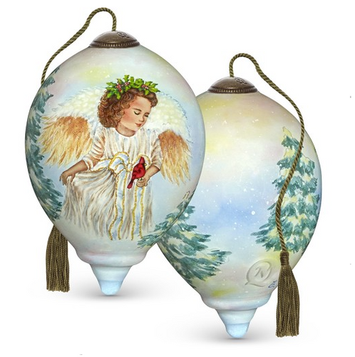 Precious Moments - Ne'Qwa Art - Hand Painted Blown Glass Petite Princess Shaped Landscapeful Jolly Angel Ornament