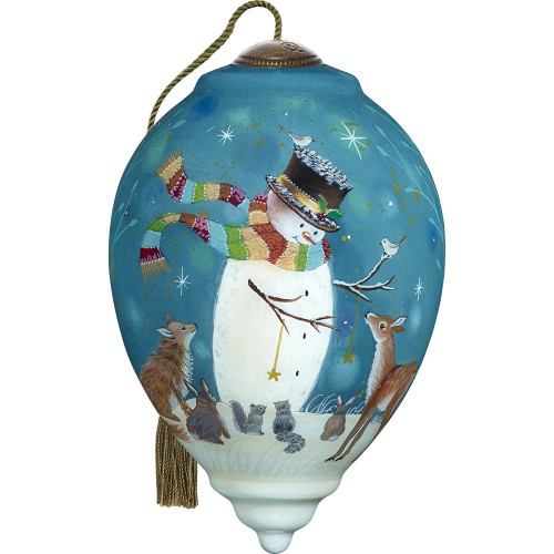 Precious Moments - Ne'Qwa Art - Hand Painted Blown Glass Standard Princess Shaped Snowman and Friends Ornament