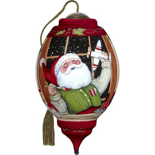 Precious Moments - Ne'Qwa Art - Hand Painted Blown Glass Standard Trillion Shaped Santa's Finishing Touches Ornament