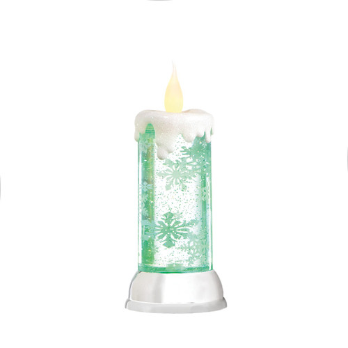 "10.5"" Tabletop Snowflake Rotating Shimmer Candle Christmas Glitterdome"