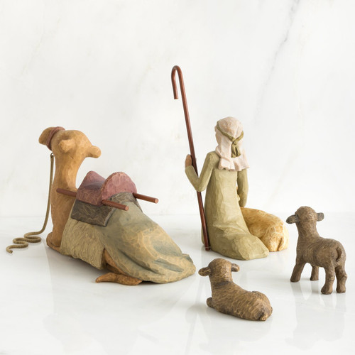 Willow Tree Shepherd and Stable Animals, 4-piece set of figures by Susan Lordi 26105