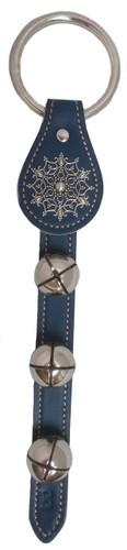 Belsnickel Snowflake Charm Blue Leather Sleigh Bell Door Hanger