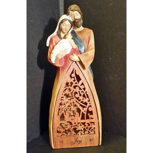 "Lighted Holy Family Figurine with Laser Cut Wood ""Joy"" Skirt by Roman Inc"