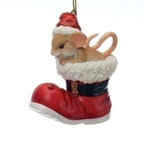 "Charming Tails - ""Tell Santa It's Shoe Time"" Mouse in Boot Ornament 25th Anniversary"