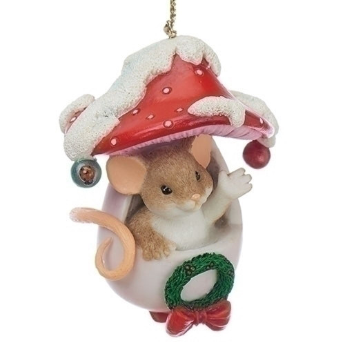 Charming Tails- Holiday Mouse in Toadstool Ornament