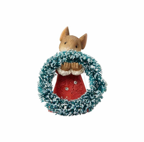 Heart of Christmas -Mouse With Wreath figurine