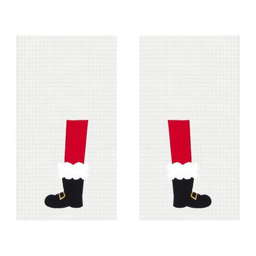 Santa Boot Kitchen Towel Set of 2