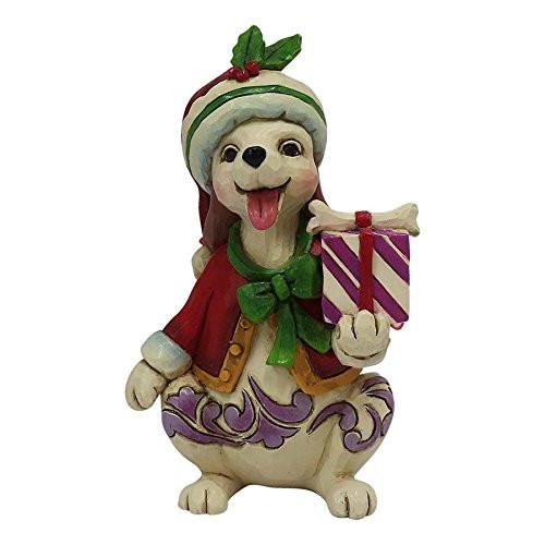 Jim Shore Heartwood Creek Mini Christmas Dog with Gift