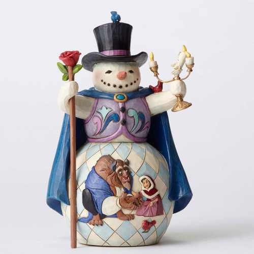 Jim Shore Disney Enchanted Christmas Beauty and Beast Snowman Figurine