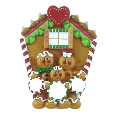 Free Personalization* Gingerbread House Family of 3